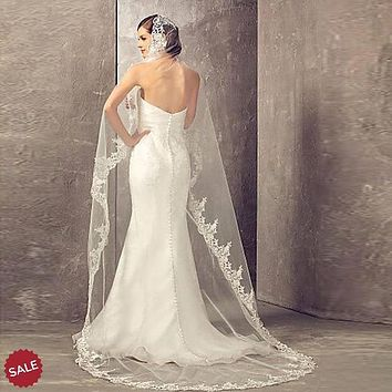 Lace Cathedral Bridal Veil With Comb