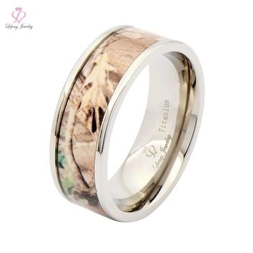 2016 New Arrival 1pcs 8mm Light Weight Titanium Camouflage Camo Bands Men's Women's Wedding Anniversary Rings