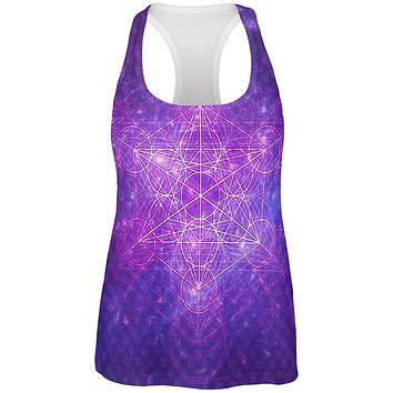 Sacred Geometry Metatron Cube Map of Creation All Over Womens Work Out Tank Top