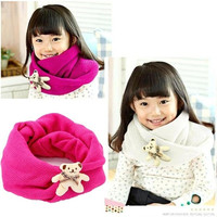 Girl's Fashion Lovely Kids Knit Wrap Neckerchief Knitting Wool Toddler Christmas Gifts Warm Bear Decorated Scarf = 1958192836