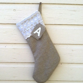 Personalized Burlap Stocking - Christmas Stocking - Linen Stocking