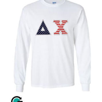 custom american flag long sleeve greek sorority or fraternity shirt