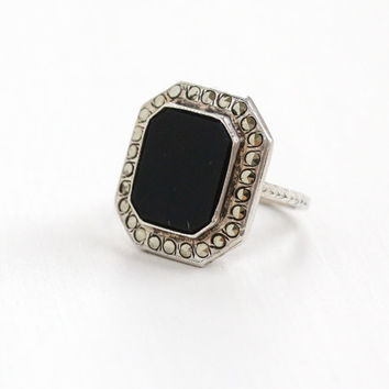 Vintage Art Deco Black Onyx & Marcasite Ring - Size 3 1/2 1920s 1930s Sterling Silver Statement Square Jewelry