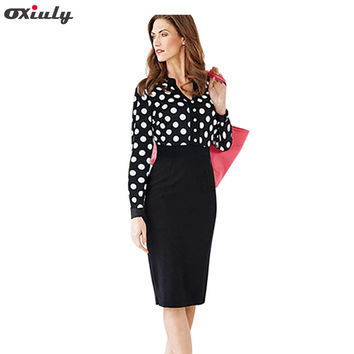 Oxiuly Women Office Dresses 2017 Autumn Polka Dot V Neck Long Sleeve Pencil Dress Women Bodycon Dress For Formal Work Wear