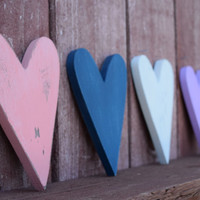 Hearts Decor Shabby Chic Nursery Wedding Cottage Home Decor - Small wooden hearts