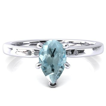 Maise Pear Aqua Blue Spinel 6 Prong Diamond Accent Engagement Ring