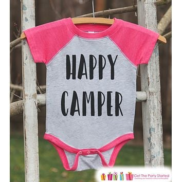 Girl's Happy Camper Outfit - Pink Raglan Shirt or Onepiece - Kids Baseball Tee - Camp Shirt for Baby, Toddler, or Youth - Adventure Clothing