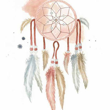 Dream Catcher - Print of original watercollor illustration by Lexi Rajkowski, home decor, native, native culture, wall art, office decor