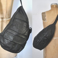 BLACK Body Bag / Sling Leather Purse