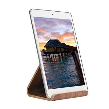 SAMDI Wood Tablet Stand for IpadTablet Stand Holder with Stable 3M Base Compatible with iPad Air mini 2 3 4 Kindle E reader Cook Book other 613 inch Tablet Simple amp Compact Black Walnut