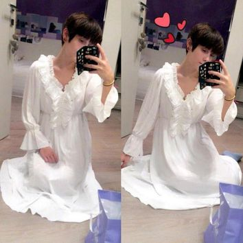 MDIGDZ2 2017 2017 Princess Nightgown Women's Winter Long Robe white Vintage Chiffon Princess Nightgown Sleepwear pijama B3892