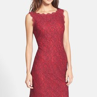Women's Adrianna Papell Boatneck Lace Sheath Dress,