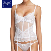 Shaper Diva white corset sexy  See Through Mesh Slimming Waist Trainer Overbust Lace Bridal lingerie Corset  Tops for Women