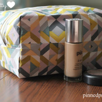 Large Makeup and Cosmetic Bag in Lavender Cubism