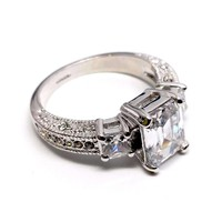 ON SALE - Timeless Three Stone Emerald Cut Swiss CZ Diamond Engagement Ring with Princess Accents - Ring