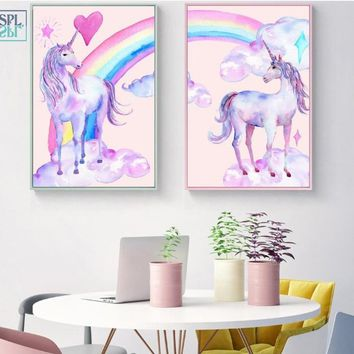 SPLSPL Nordic Canvas Wall Art Oil Painting Unicorn Rainbow Cartoon Baby Room Wall Decoration Posters and Prints No Framed