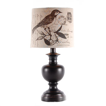 Bird Postcard Print Shade Small Black Lamp by Stylecraft