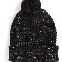 BLACK MIXED YARN WAFFLE BEANIE - Hats   - Shoes and Accessories