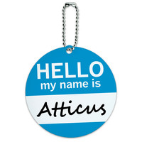 Atticus Hello My Name Is Round ID Card Luggage Tag