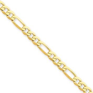 4mm, 14k Yellow Gold, Flat Figaro Chain Necklace, 18 Inch