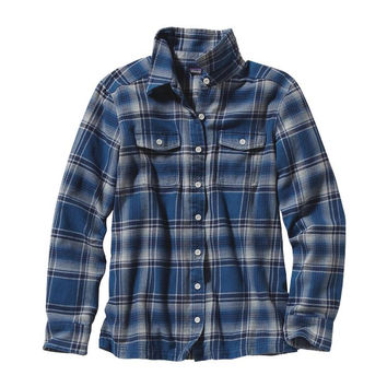Patagonia Women's Fjord Long Sleeve Flannel Glass Blue