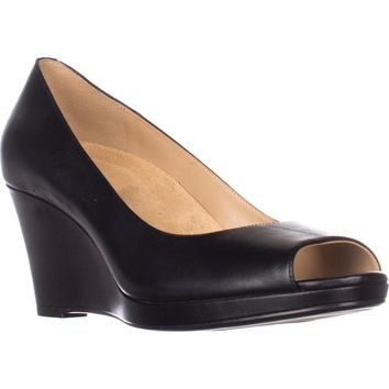 naturalizer Olivia Peep-Toe Wedge Pumps, Black Leather, 10 US / 40 EU