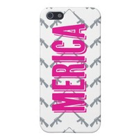 Pink and Gray Merica Gun Chevron Pattern iPhone 5 iPhone 5 Cases from Zazzle.com