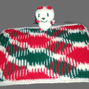 Baby's First Teddy Bear Crocheted Baby Bear and Receiving Blanket Christmas Colors Red Green White Free Shipping