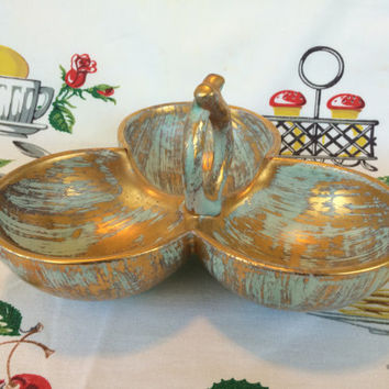 Mid Century Mod Stangl Art Pottery Triple Candy Dish Nut Bowl Antique Gold