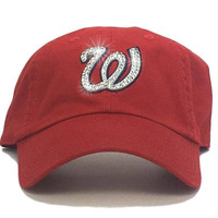 Washington Nationals '47 Brand Adjustable Cap + Swarovski Crystals
