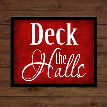 Deck the Halls Christmas Sign Wooden Custom Personalized Plaque Holiday Decor Gift Sign Wood Art