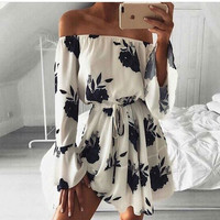 Fashion Flower Print Off Shoulder Long Sleeve Drawstring Mini Dress