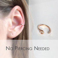 14k Rose or Yellow Gold Filled Fake Conch Ring - Slip On Conch Ring - Clip on Helix Cuff - Ear Cuff - Faux Orbital Piercing - Fake Cartilage