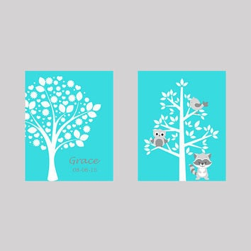Tree on Aqua with Name Birth Date Tree with Animals CUSTOMIZE YOUR COLORS 8x10 Prints Set of 2, nursery decor nursery print art baby decor