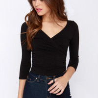 First Position Black Wrap Crop Top