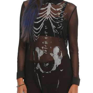 Iron Fist x Ash Costello Bat Royalty Bad To The Bone Mesh Shirt Dress