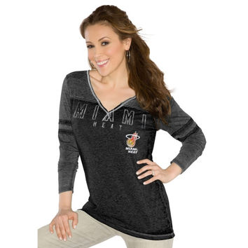 Touch by Alyssa Milano Miami Heat Womens Gridiron V-Neck Burnout Long Sleeve T-Shirt - Black