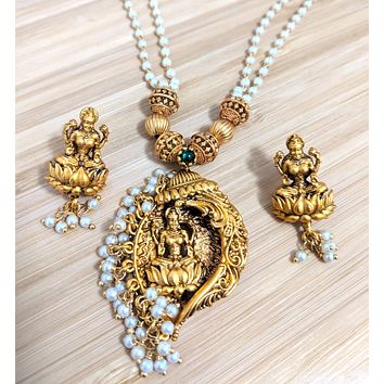 Double stranded pearl chain necklace with Goddess Lakshmi Pendant and Stud earring set - Matte gold finish