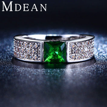 MDEAN Emerald rings for women Green white gold plated women rings CZ Diamond jewelry Engagement wedding fashion bague MSR210