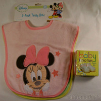 Disney 2 Terry Bibs Minnie Mouse Pluto Girls Baby Booties Knit Kit Shower Gift