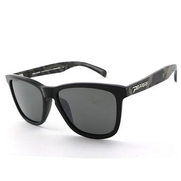 Peppers - Black Sands Matte Black + Camo Temples Sunglasses, Flash Mirror Lenses