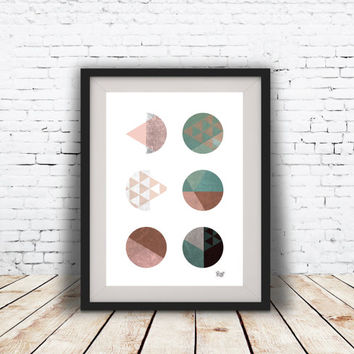 INSTANT DOWNLOAD. Abstract art, Geometric Art, Retro poster, Mid century modern, Colorful, Scandinavian Style abstract digital poster print