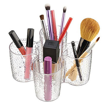 mDesign Cosmetic Organizer Cup for Vanity Cabinet to Hold Makeup, Beauty Products - 5 Compartments, Clear
