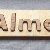 Personalized Custom Name Puzzle, Natural Puzzle in Heirloom Quality Pine and Oak Wood, Natural Wooden Name Puzzle,Montessori Inspired Puzzle
