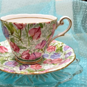 Vintage Chintz Royal Standard Tea Cup Set, Teacup and Saucer, Chintz China, English Tea Cup Set, Birthday Gift for Tea Lover