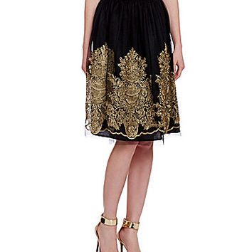 Chelsea & Violet Embroidered Tulle Midi Skirt - Black/Gold
