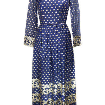 1960s B. Cohen Metallic Embroidered Dress / Jaconelli / Elizabeth Arden / Mad Men / Navy Blue Gold / Womens Vintage Dress / Size Small