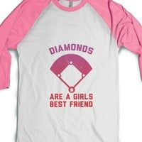 White/Neon Heather Pink T-Shirt | Cute Girlfriend Baseball Gift Shirts