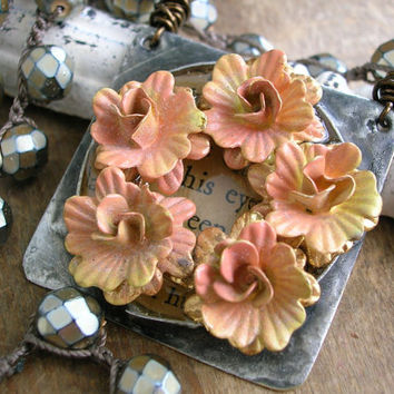 Upcycled vintage crochet necklace - Fresh Flowers - eco friendly country chic boho jewelry salmon pink silver bohemian OOAK Vintage Market