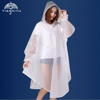 Portable EVA Transparent Woman Fashion Womens Waterproof Outdoor Outerwear Hooded Cover Rain Coat Knee Length Raincoat TXY-A5